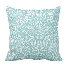 Aqua Floral Damask Pattern Throw Pillow