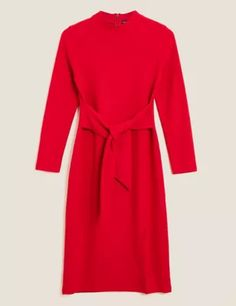 Buy the Jersey Brushed Belted Midi Shift Dress from Marks and Spencer's range. Smart Styles, Suit Shop, Formal Shirts, Beautiful Lingerie, Women Wear, Dresses For Work, Style Inspiration, Collection, July Birthstone