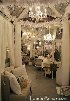 LaurieAnna's Vintage Home- gorgeous.  Love the vintage window ceiling, pillars, and rag garland.