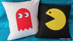 SET OF 2: PACMAN & GHOST APPLIQUE CUSHION COVER VINTAGE GAME ALSO CUSTOM COLORS | eBay