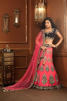 Like!!! And love the waist band! --Beautifully designed pink and blue lehenga choli