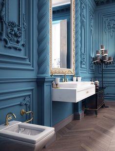 А вас вдохновляют ванные комнаты с лепниной?  Лепнина – невероятно эффектное…