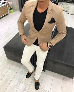 Quality 2017 Latest Coat Pant Design Brown khaki Men Suit Casual Blazer Skinny Tuxedo Custom 2 Piece Jacket Style Suits Terno Masculino with free worldwide shipping on AliExpress Mobile Casual Blazer, Men Casual, Blazer Suit, Mode Swag, Herren Outfit, Business Outfit, Business Casual, Fashion Mode, Empire Fashion