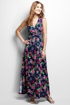 Women's Knit Maxi Dress from Lands' End one print available don't get petite, hem it instead