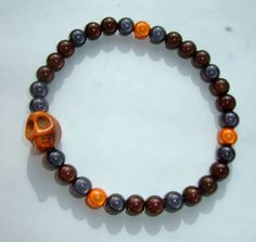#Gothic #Skull - Stretchy Bracelet - Brown and #Orange by #SquintyStuff on #Etsy £5 #GlasgowEtsy