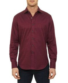 Salisbury Sport Shirt in Burgandy by Robert Graham