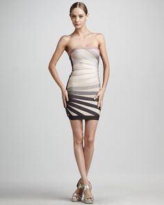 Strapless Rays Dress by Herve Leger at Neiman Marcus.