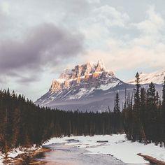 sunrise on castle mountain.