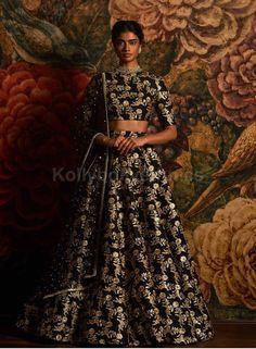 The Stylish And Elegant Lehenga Choli In Black Colour Looks Stunning And Gorgeous With Trendy And Fashionable Embroidery . The Raw Silk Fabric Party Wear Lehenga Choli Looks Extremely Attractive And C. Sabyasachi Lehenga Bridal, Lehenga Blouse, Anarkali, Lengha Choli, Sari Dress, Black Lehenga, Raw Silk Lehenga, Lehenga Designs, Indian Dresses
