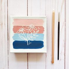 Simple Canvas Paintings, Easy Canvas Art, Small Canvas Art, Mini Canvas Art, Cute Paintings, Diy Canvas, Dorm Canvas Art, Blue Canvas, Pink Painting