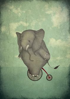 """Elephant on a bike"", Majalis illustration portfolio « Majali – design & illustration"