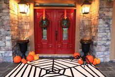 Halloween spider web front porch