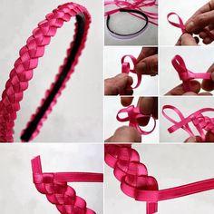 Jaque Assis: Tiara trançada com fitas Ribbon Braids, Ribbon Hair Clips, Ribbon Headbands, Ribbon Art, Diy Hair Bows, Diy Bow, Diy Headband, Diy Ribbon, Fabric Ribbon