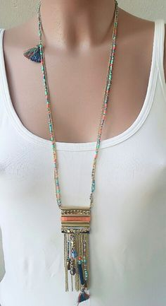 #montresmode, #bijouxfantaisiefemme, #bijoux, #streetsyle, #necklace, #watches Arrow Necklace, Beaded Necklace, Necklaces, Trendy Jewelry, Turquoise Necklace, Bling, Couture, Detail, Creative