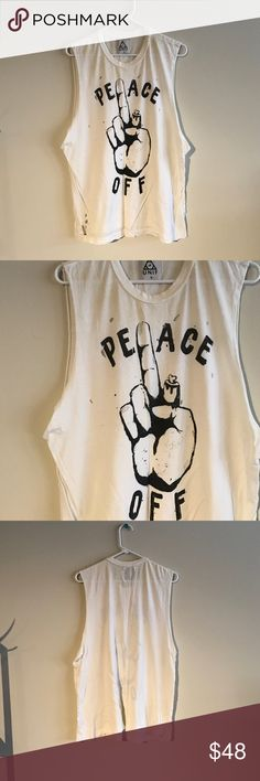 Peace Off UNIF Muscle Tee distressed, oversized muscle tee! UNIF Tops Muscle Tees