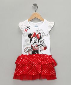 Take a look at this Red & White Vintage Ruffle Tee Dress - Toddler by Disney on #zulily today!
