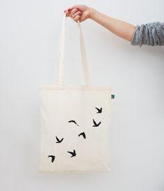 Jutebeutel - Jutebeutel / Vögel - ein Designerstück von Eulenschnitt bei DaWanda