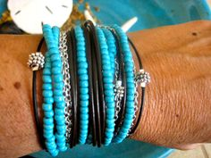 """Boho Chic Endless Leather Wrap Turquoise Beaded Bracelet with Silver Accents....""""FREE SHIPPING""""    by LeatherDiva, $38.00"""