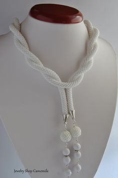 Bead crochet rope necklace Crochet necklace White beaded rope Beaded lariat necklace Seed bead necklace Beadwork gift Beadwork necklace