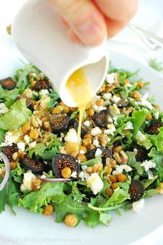 Homemade garlic dressing adds just a little kick to this sweet and savory Fig and Feta salad with Roasted Chickpeas + Walnuts!   Back To The Book Nutrition
