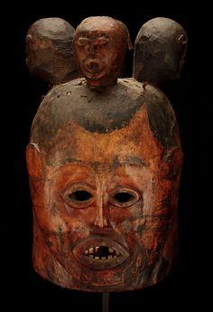 Cameroon Mask. Janus Helmet, Secret Society. Made of Wood, Antelope Animal Skin, Charcoal oil paint. Mostly likely Cross River Region.