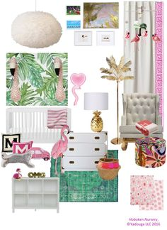 Flamingos and all! Love a pink and green nursery