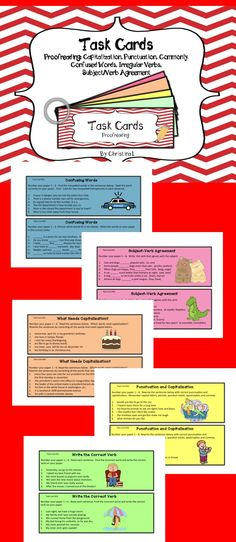 These task cards cover proofreading, capitalization, punctuation, subject/verb agreement, commonly confused words and irregular verbs. Great for small group intervention or literacy canters.