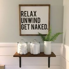 Bathroom decor. Farmhouse bathroom. Shiplap bathroom. Bathroom sign. Sea Salt by Sherwin Williams.
