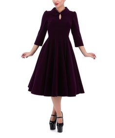 Look at this HEARTS & ROSES LONDON Purple Glamorous Keyhole A-Line Dress on #zulily today!