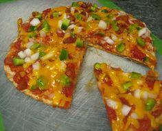 Southwest Tortilla Pizzas - refried beans, green chiles, garlic powder, ground cumin, chili powder, tortillas, salsa, green pepper, onion, cheddar cheese