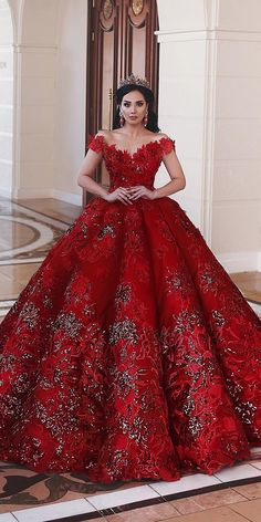 15 Your Lovely Red Wedding Dresses ❤ red wedding dresses princess off the shou. 15 Your Lovely Red Wedding Dresses ❤ red wedding dresses princess off the shoulder lace floral appliques said mhamad photography ❤ Full gallery: weddingdressesgui. Pretty Quinceanera Dresses, Cute Prom Dresses, Red Wedding Dresses, Princess Wedding Dresses, Pretty Dresses, Lace Wedding, Wedding Dress With Red, Sweet 15 Dresses, Yellow Wedding