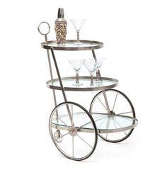 Art Deco Miami Polished Silver Modern Serving Bar Cart