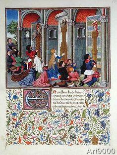 French School - Ms 2617 Arcitas praying to Mars, Palemon praying to Venus, Emily praying to Diana, from La Teseida, by Giovanni Boccaccio (1313-