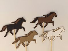 12 horse cupcake toppers-horse appetizer by ScrapStarz on Etsy
