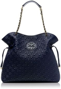 TORY BURCH | Blue Marion Quilted Slouchy Tote |= (ACCESSORIES SHOW)