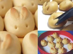 """Funny bunny-buns for Easter, I think even I could manage to do this! lillianmaxwell: """" Bunny Bread: to 3 cups all-purpose flour 2 tablespoons sugar 1 package (¼ ounce) active dry yeast 1 teaspoon salt 1 cup ounces) sour cream ¼ cup water 2 tablespoons Ostern Wallpaper, Paper Wallpaper, Calendar Wallpaper, Cute Food, Yummy Food, Bunny Bread, Bunny Cupcakes, Bacon Jam, Food Humor"""