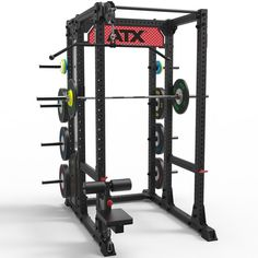 This set features the ATX Power Rack with cage-style weight storage add-on, a stack weight lat pulldown attachment, a plug-in seat for the pulldown, and a collegiate-style logo plate. Home Multi Gym, Lat Pulldown, Olympic Weights, Pull Up Bar, Power Rack, Cage, Training, Architecture, Gadgets