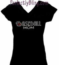 Rhinestone BASEBALL MOM tee shirt - Black $19.99. I'm gonna need one of these later in life.