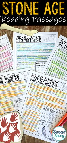 Early Human Worksheets | The Stone Reading Comprehension Passages, Questions, and Annotations  Archeology and Paleolithic Era - Neolithic Era  This resource contains 5 Engaging, Non-Fiction Reading Comprehension Passages with Directions for Student Annotations! Reading Comprehension Questions also included! Questions 6th Grade Social Studies, 6th Grade Ela, 6th Grade Reading, Teaching Social Studies, Fourth Grade, Third Grade, Teaching Resources, Teaching Ideas, Reading Comprehension Passages