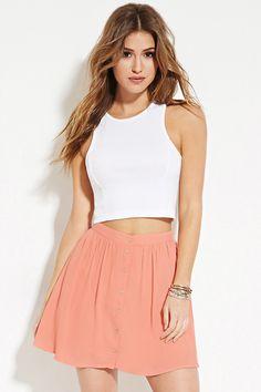 Button-Front Mini Skirt