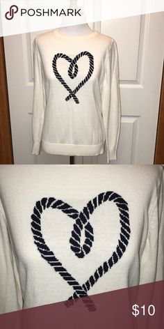 Heart sweater Cream colored sweater with navy blue rope like heart Old Navy Sweaters