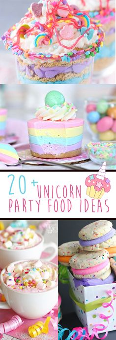 A huge round up of recipes and unicorn DIY party ideas for all kinds of t Unicorn Diy, Party Unicorn, Unicorn Themed Birthday Party, Unicorn Foods, 5th Birthday, Birthday Ideas, Purple Unicorn, Party Food Platters, Unicorn Cookies