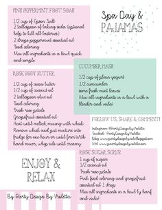 Spa Day & Pajamas theme party Home made organic product treatment made with love, we treat our little girls only with this home made products, they keep the recipe to do it at home and maybe pampered Spa Day Party, Girl Spa Party, Pamper Party, Diy Party, Diy Spa Tag, Home Spa Treatments, Homemade Spa Treatments, Skin Treatments, Pamper Days