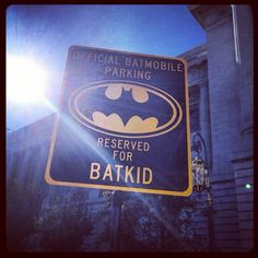 The parking sign for the #SFBatKid Miles today in San Francisco down in Civic Center Plaza. Not a dry eye anywhere. #MakeAWishFoundation #Batman