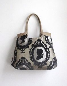 Cameo taupe weekender hobo bag with burlap by madebynanna on Etsy, $68.00