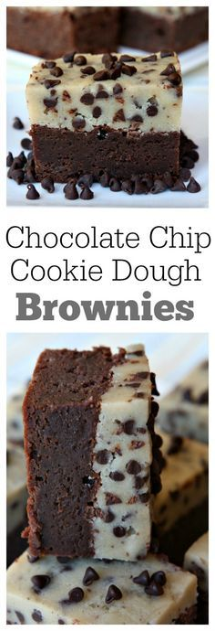 Chocolate Chip Cookie Dough Brownies recipe : one of the most popular recipes of all time. This is a recipe that everyone will ask you to make again and again. Cookie Dough Brownies, Chocolate Chip Cookie Dough, Chocolate Cookies, Cookie Dough Cupcakes, Chocolate Chocolate, Chocolate Angel, Chocolate Roulade, Cookie Dough Cheesecake, Dark Chocolate Brownies