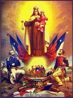 Antigua postal de la Virgen del Carmen como patrona protectora del Ejército de Chile.