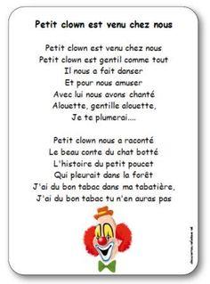 Paroles de la comptine Petit clown est venu chez nous : Petit clown est gentil comme tout, Il nous a fait danser, Et pour nous amuser.... Venus, Comme, Fictional Characters, Clowns, Images, French Tips, Circus Activities, Kids Songs, Period