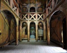 Interior of Borgund stave church, built 1180, Ålesund, Norway