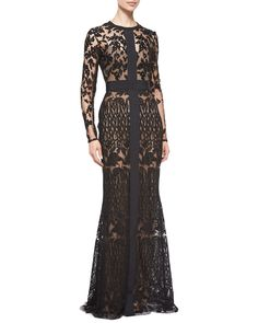 Long-Sleeve Sheer Embroidered Lace Gown, Women's, Size: 36 FR (4 US), Black - Elie Saab